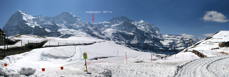 Jungfraujoch seen from the Kleine Scheidegg